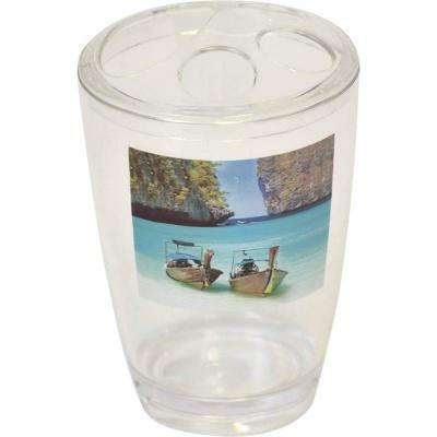 Paradise Clear Acrylic Printed Bath Toothbrush and Toothpaste Holder