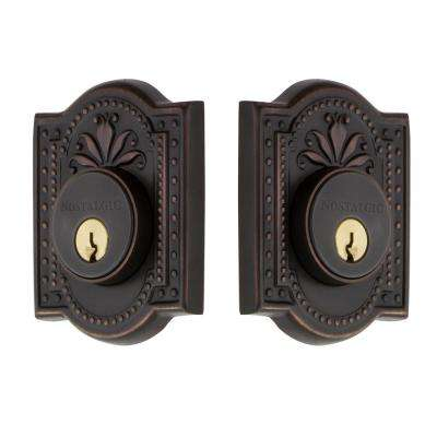 Meadows Plate 2-3/8 in. Backset Double Cylinder Deadbolt in Timeless Bronze