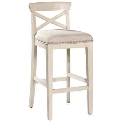 Bayview 26 in. White Wirebrush/Silver Non-Swivel Counter Stool Set of 2