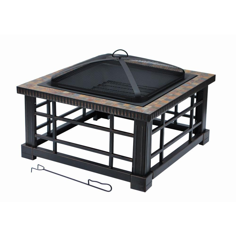 Steel Deep Bowl Fire Pit In Oil Rubbed Bronze With Cover OFW832S   The Home  Depot