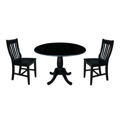 Laurel 3-Piece Black Drop-leaf Dining Set with 2-Caf Chairs
