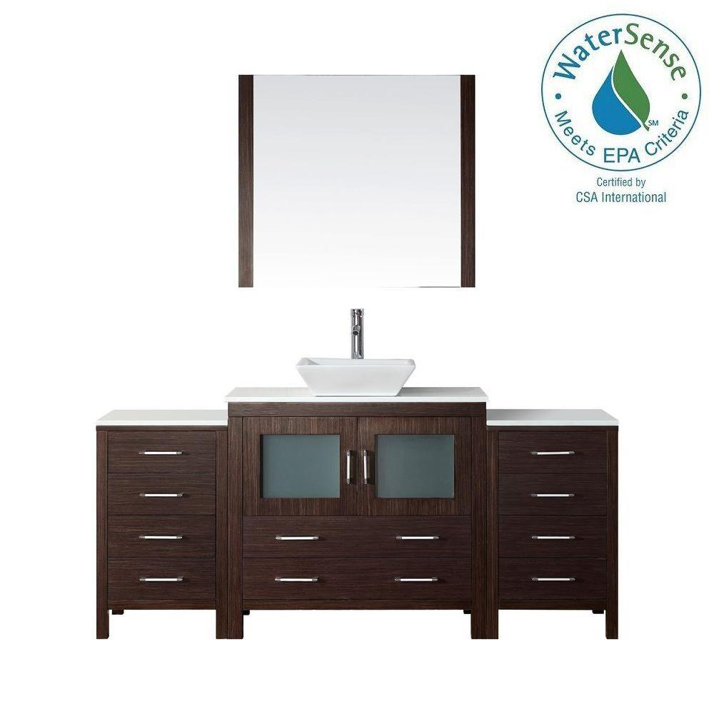 Virtu USA Dior 73 in. W Bath Vanity in Espresso with Stone Vanity Top in White with Square Basin and Mirror and Faucet