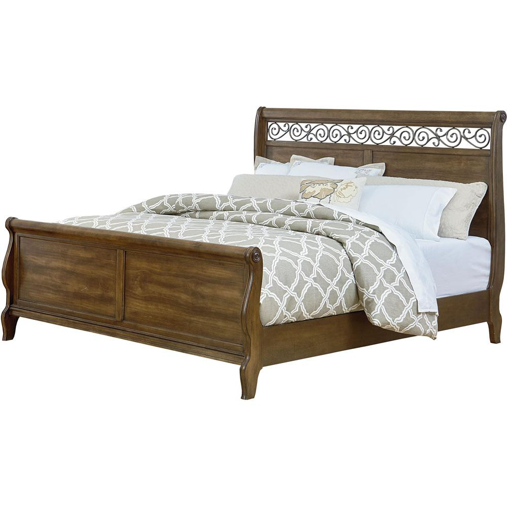 Flemington Caramelized Pine Queen Bed-98121BQU-LP - The Home Depot