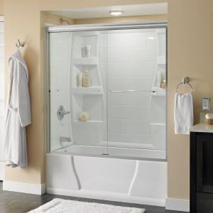 Delta Simplicity 60 inch x 58-1/8 inch Semi-Frameless Sliding Bathtub Door in Chrome with Clear Glass by Delta
