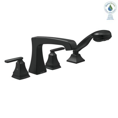 Ashlyn 2-Handle Deck Mount Roman Tub Faucet Trim Kit in Matte Black with Hand Shower (Valve not Included)
