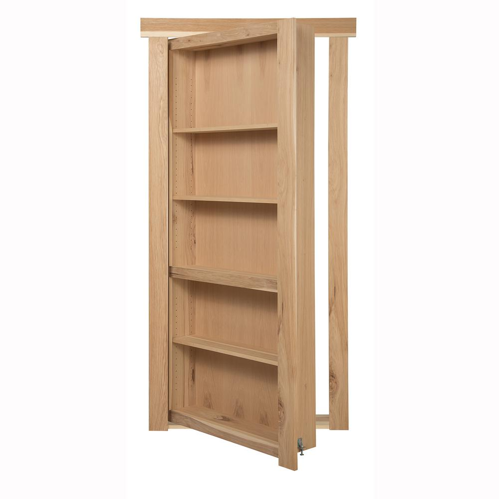 The Murphy Door 36 in. x 80 in. Flush Mount Assembled Hickory Unfinished Left-Handed Out-Swing Solid Core Interior Bookcase Door