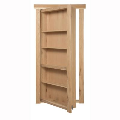 36 in. x 80 in. Flush Mount Assembled Hickory Unfinished Left-Handed Out-Swing Solid Core Interior Bookcase Door