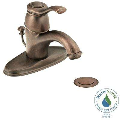 Kingsley 4 in. Centerset Single Handle Low-Arc Bathroom Faucet in Oil Rubbed Bronze with Metal Drain Assembly