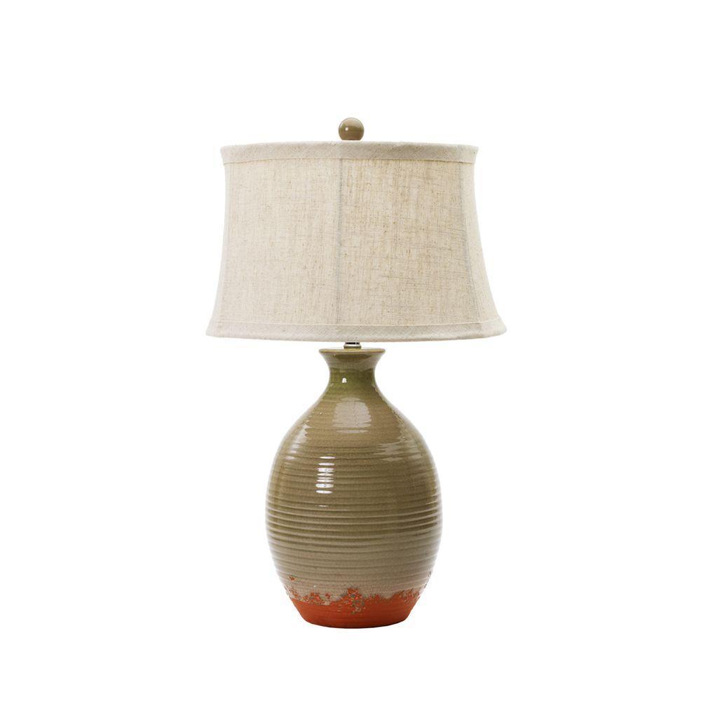 28 in. Bay Leaf Crackle Ceramic Table Lamp