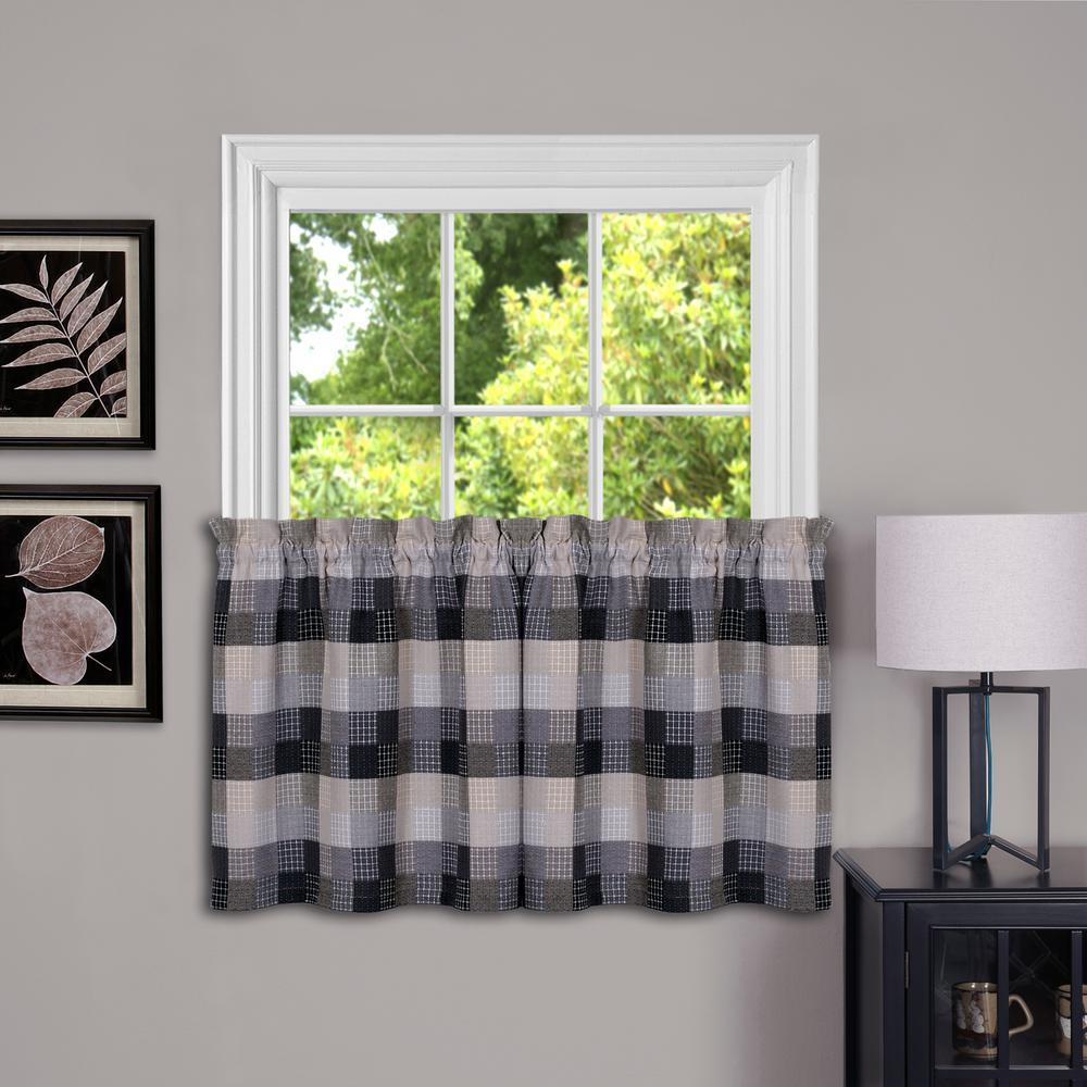 Harvard Black Polyester Window Tier - 57 in. W x 24 in. L (2-Pair)
