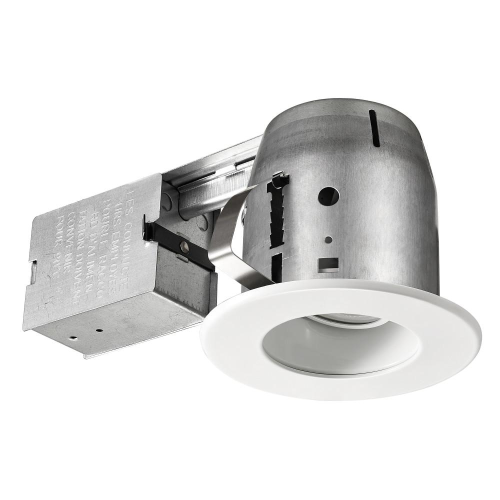 Commercial Electric 4 In. White LED Swivel Baffle Round