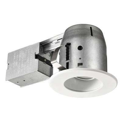4 in. White LED Swivel Baffle Round Trim New Construction and Remodel Recessed Lighting Kit with LED Bulb