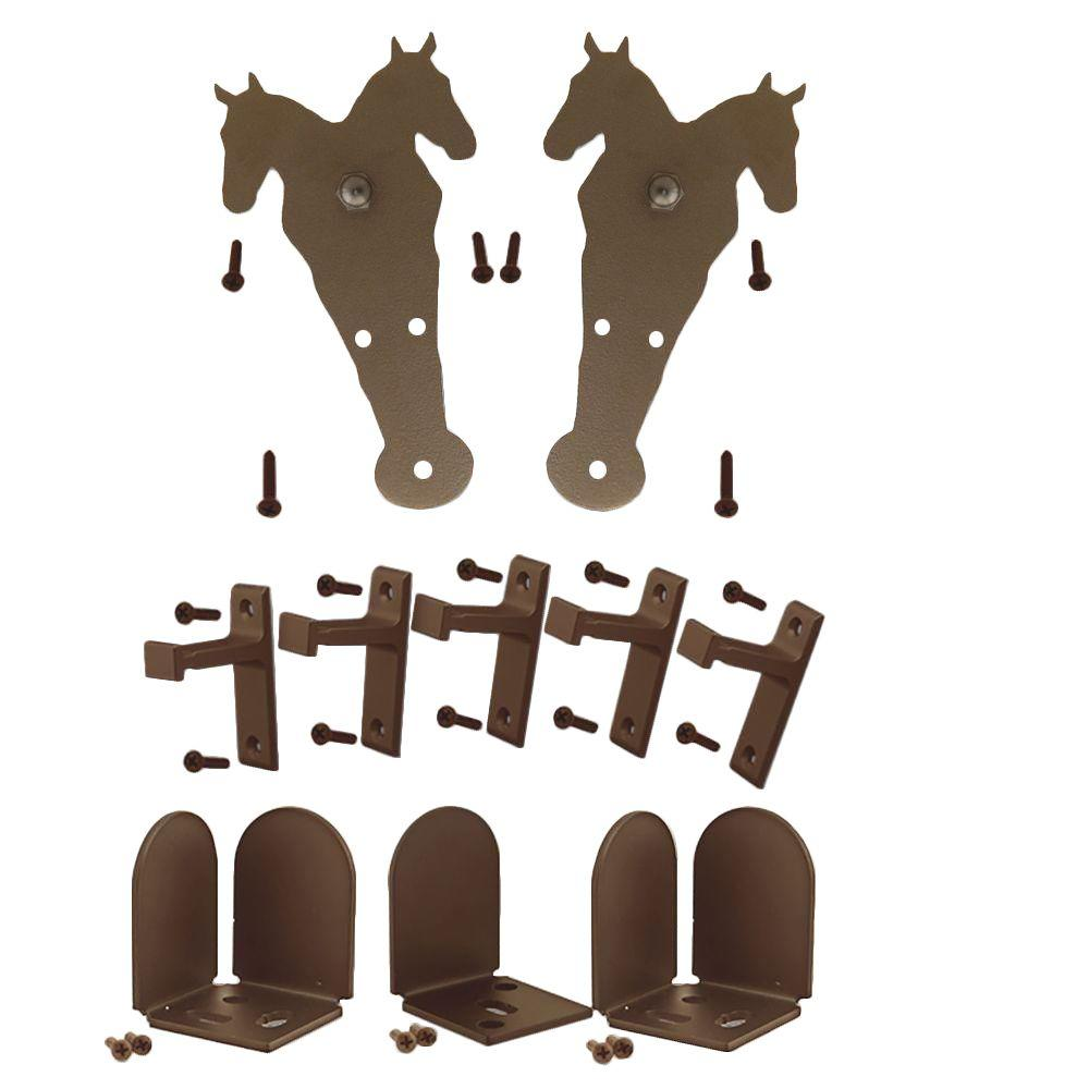 Quiet Glide 3/4 in. - 1-1/2 in. Double Horse Oil Rubbed Bronze Rolling Door Hardware Kit