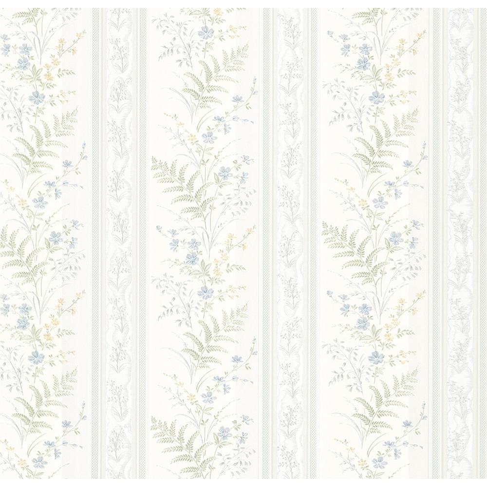 Brewster Bell Blue Wildflower Stripe Wallpaper Sample 347-20147SAM