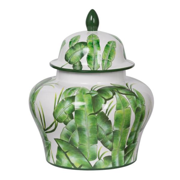 Lovise Palm Green and White Wide Lidded Urn