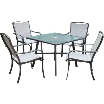 Foxhill 5-Piece Commercial Aluminum Outdoor Dining Set with 4-Sunbrella Sling Dining Chairs and a 38 in. Glass-Top Table