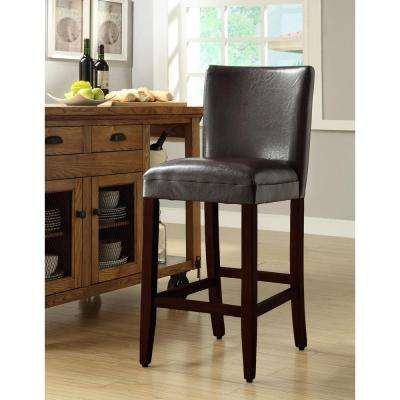 Fruitwood 29 in. Black Cushioned Bar Stool