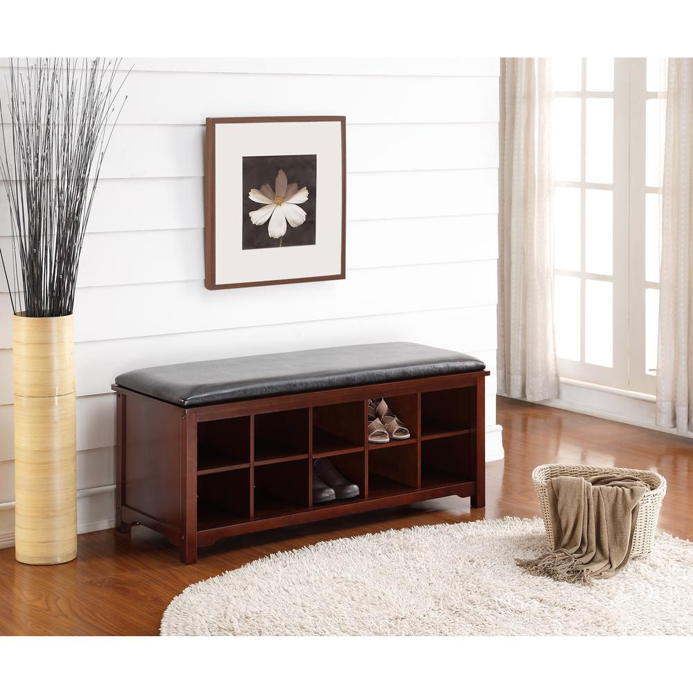 Linon home decor cape anne walnut bench 850020wal01u the home depot - Decorative stools and benches ...