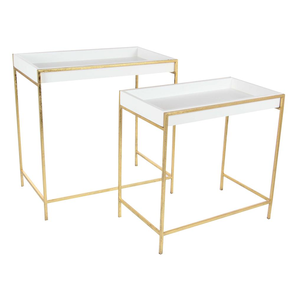 Modern Metal and Wood Deep Console Tables in Gold (Set of
