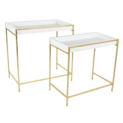 Modern Metal and Wood Deep Console Tables in Gold (Set of 2)