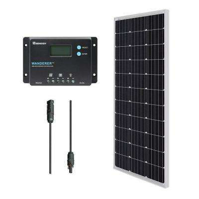 12-Volt 100-Watt Monocrystalline Bundle Kit Solar Panel with Wanderer 10 Amp Charge Controller
