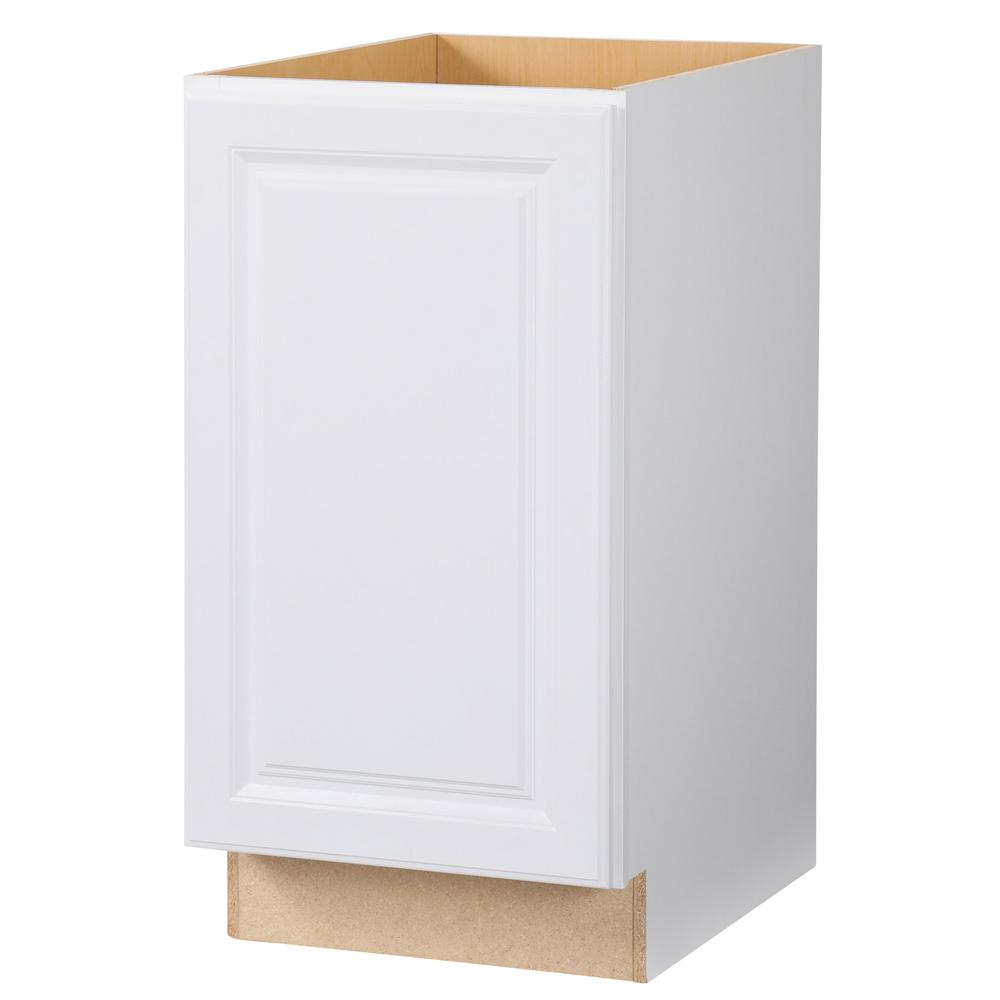 Hampton Bay Hampton Assembled 18x34.5x24 in. Pull Out Trash Can Base  Kitchen Cabinet in Satin White