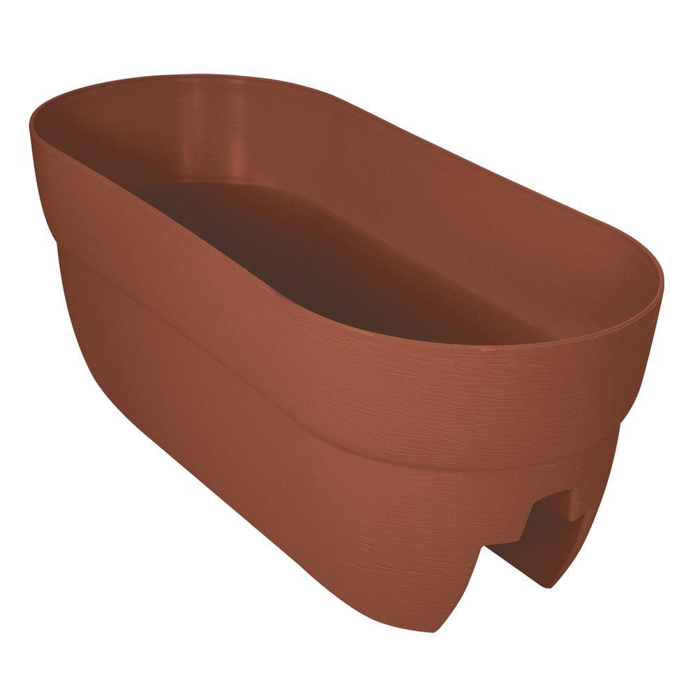 Emsco Bloomers Series 24 in. W x 12 in. H Terra Cotta Resin Deck and Porch Rail Planter