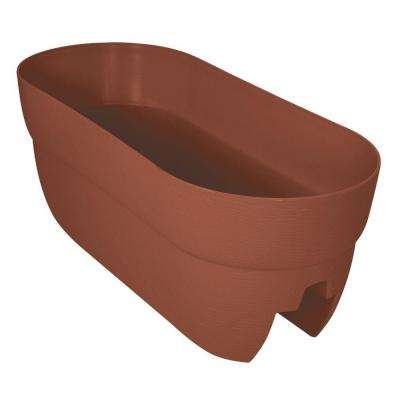 Bloomers Series 24 in. W x 12 in. H Terra Cotta Resin Deck and Porch Rail Planter