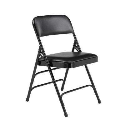 1300 Series Black Premium Vinyl Upholstered Triple Brace Double Hinge Folding Chair (4-Pack)