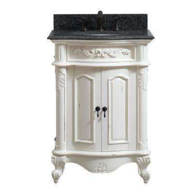 Provence 25 in. W x 22 in. D x 35 in. H Bath Vanity in Antique White with Granite Vanity Top in Impala Black with Basin