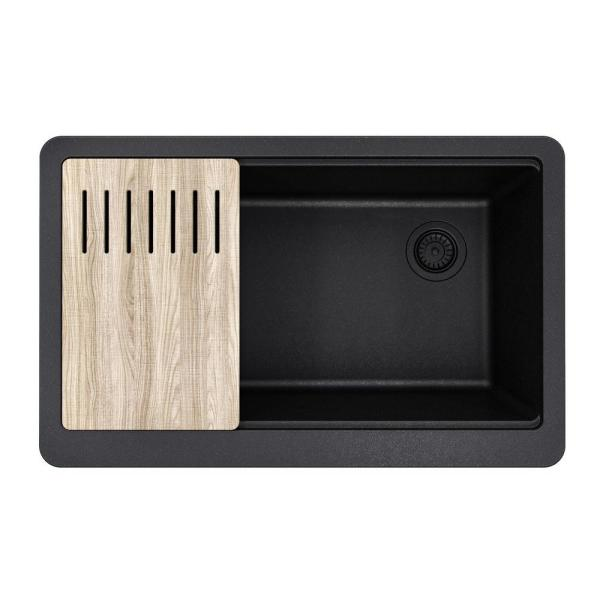 Bellucci MetallTek Farmhouse ApronFront Granite Composite 33 in.Single Bowl Kitchen Sink with Cutting Board in Black
