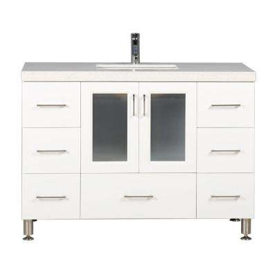 Westfiled 48 in. W x 22 in. D Vanity in White with Quartz Vanity Top in White with White Basin