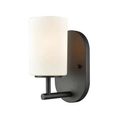 Pemlico 1-Light Oil Rubbed Bronze with White Glass Bath Light