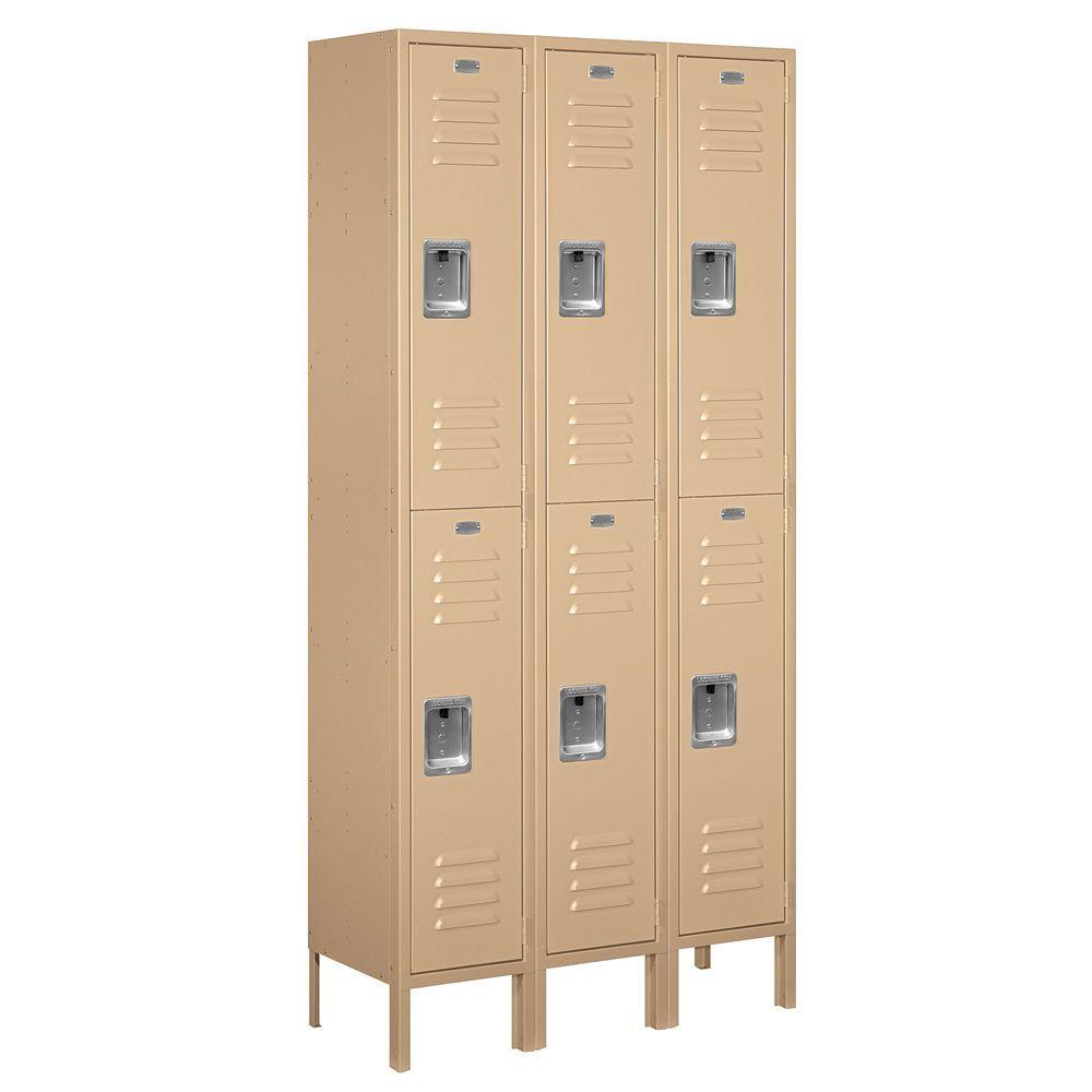 62000 Series 36 in. W x 78 in. H x 12 in. D 2-Tier Metal Locker Unassembled in Tan