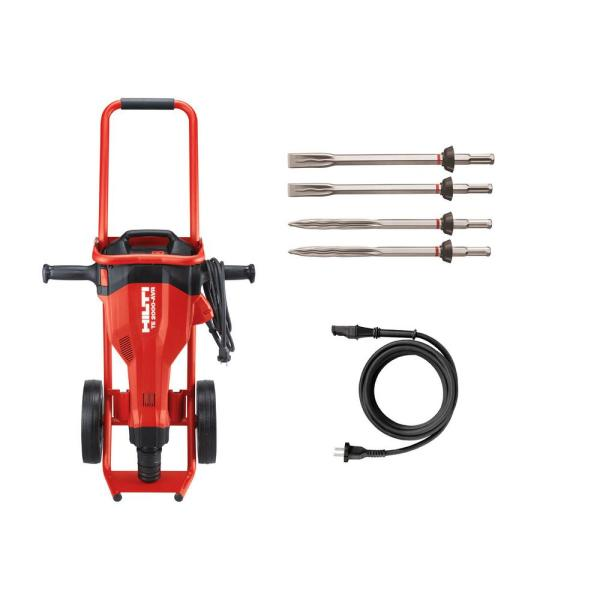 15 Amp 120 Volt 1 in. TE 2000-AVR Polygon Demolition Jack Hammer Concrete Breaker Kit with Trolley, Cord and 4 Chisels