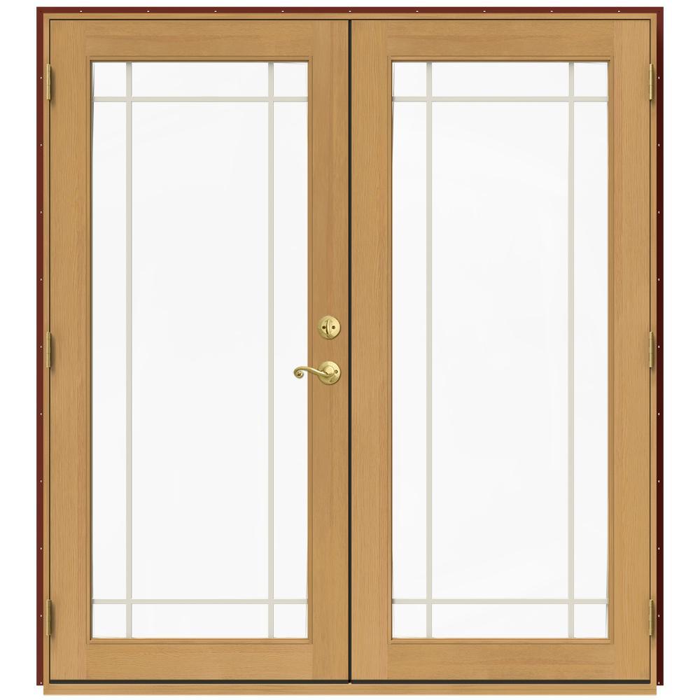 Jeld wen 71 5 in x 79 5 in w 2500 mesa red right hand for Home depot wood french doors
