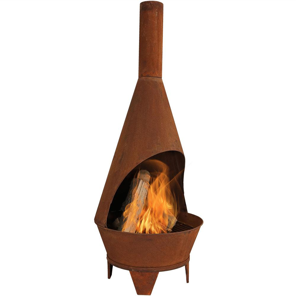 Sunnydaze Decor 75 In Rustic Chiminea Wood Burning Fire Pit Rcm Lg799 The Home Depot