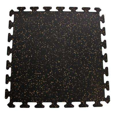 Black with Tan Speck 24 in. x 24 in. Recycled Center Floor Tiles (24 sq. ft.)