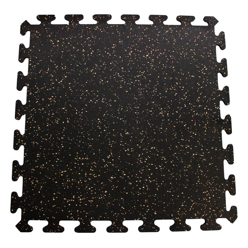 null Black with Tan Speck 24 in. x 24 in. Recycled Center Floor Tiles (24 sq. ft.)