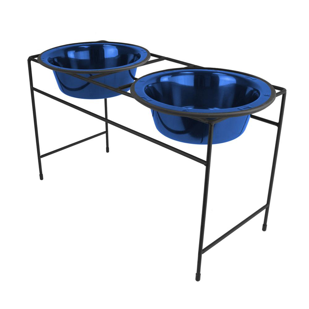 Platinum Pets Platinum Pets Modern Double Diner Feeder with Stainless Steel Cat/Dog Bowls, Sapphire Blue