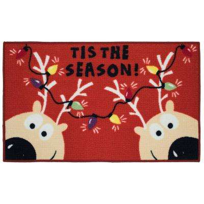 Reindeer Tis the Season 18 in. x 30 in. Printed Nylon Door Mat