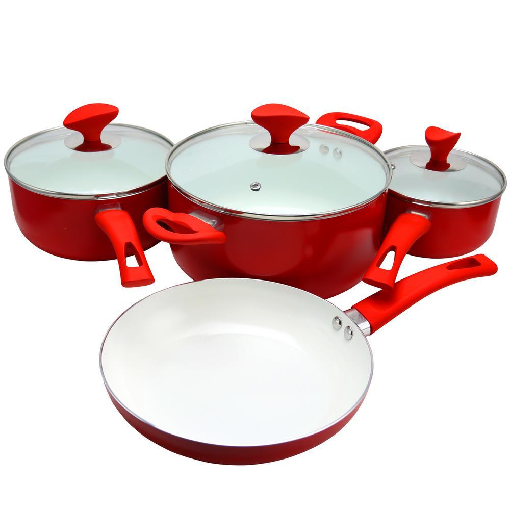 Acerra 7-Piece Red Cookware Set