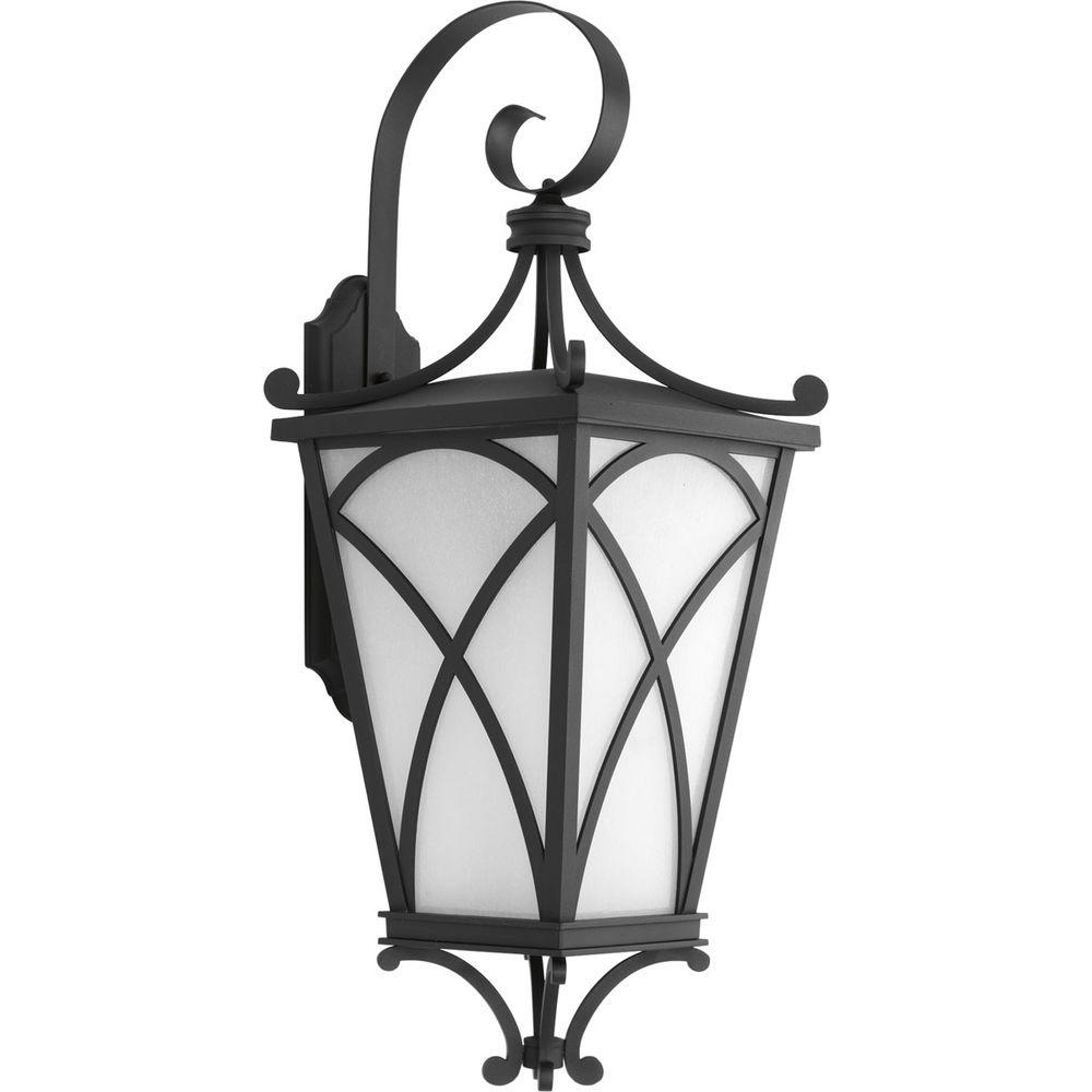 Cadence Collection 1-Light Outdoor 12.25 Inch Black Wall Lantern