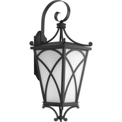 Cadence Collection 1-Light 32 in. Outdoor Black Wall Lantern Sconce