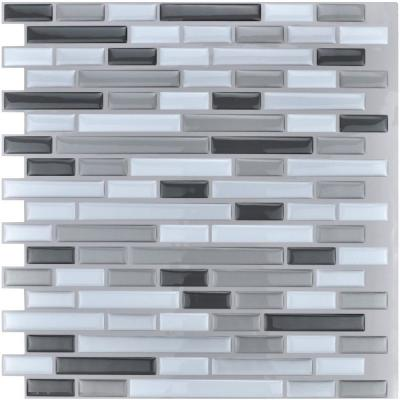12 in. x 12 in. Grey Peel and Stick Tile Backsplash for Kitchen (10-Pack)