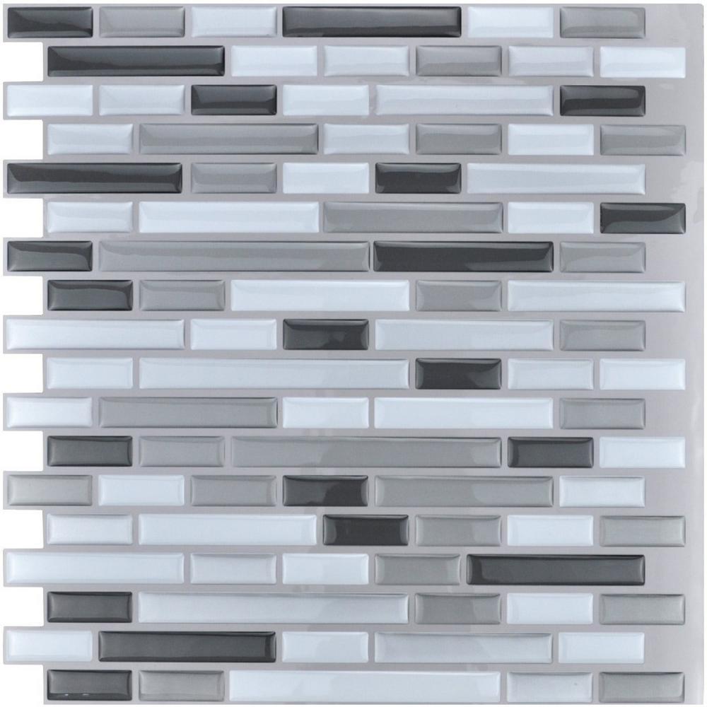 Art3d 12 in. x 12 in. Grey Peel and Stick Tile Backsplash for Kitchen (10-Pack)