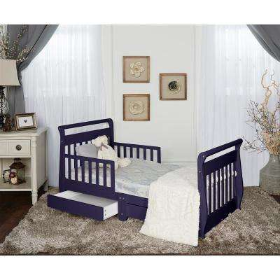Navy Toddler Adjustable Sleigh Bed with Storage Drawer