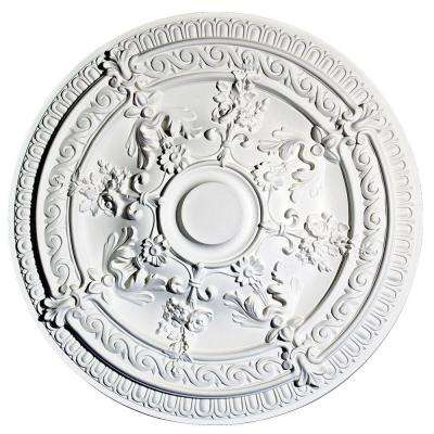 European Collection 25-13/16 in. x 1-9/16 in. Floral and Egg and Dart Polyurethane Ceiling Medallion