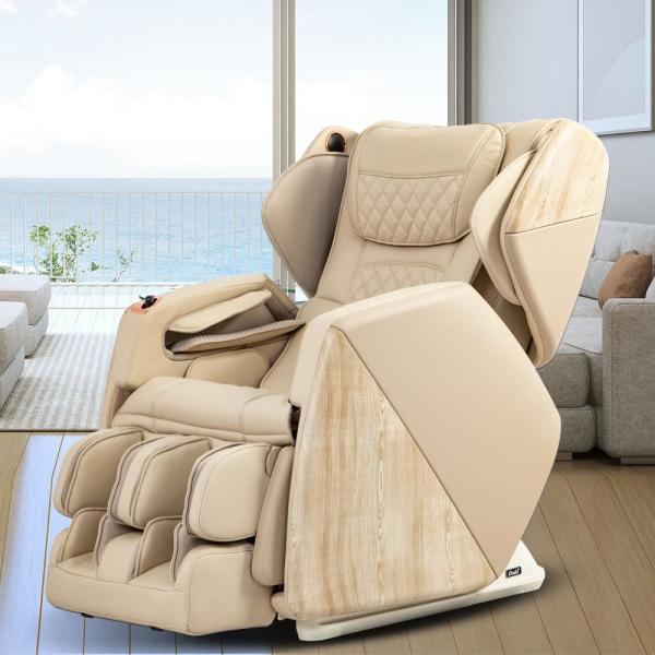 Pro Series Soho Cream Faux Leather Reclining Massage Chair with Bluetooth Speakers and 4D Massage