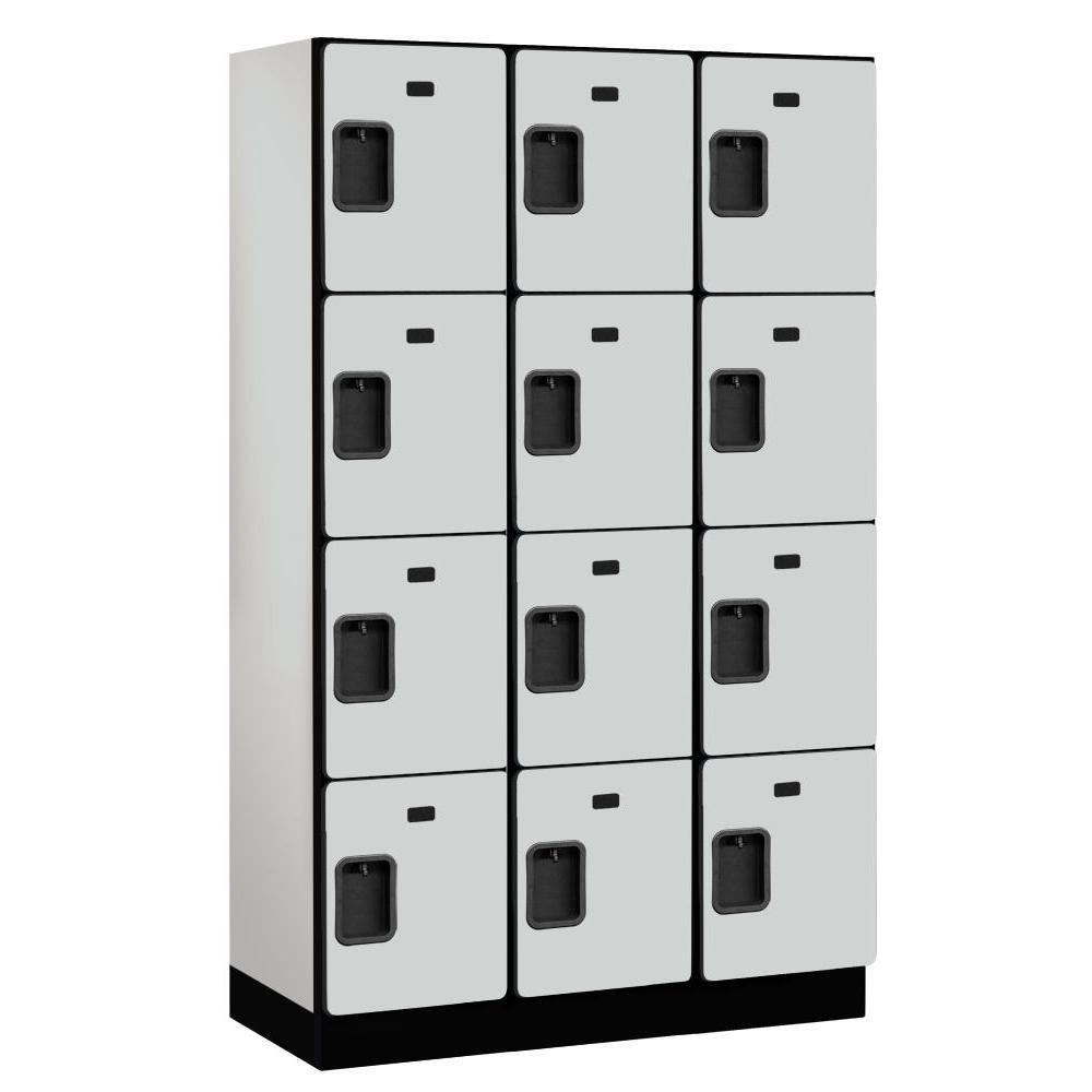 24000 Series 4-Tier 18 in. D Extra Wide Designer Particle Board Locker in Gray